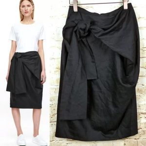 COS Pencil Skirt with Tie Front Belt Wrap Black